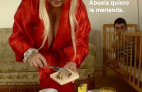 imagen Abuela desvirga a su nieto, totalmente español